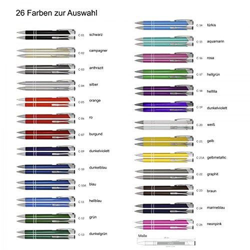 Creativgravur Aluminium - Kugelschreiber Cosmo Lasergravur Sortenrein o. Gemischt Einheitl. Gravur 26 Farben - Menge:50 Stück