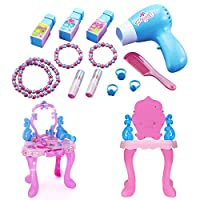 PetHot Girls Princess Dressing Mirror Table Make Up Desk Toy Play Set Plastic Vanity Table Pink for Childrens Kids