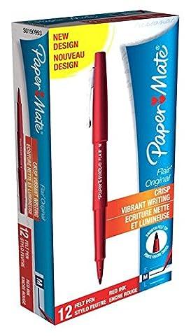 PaperMate Flair Original Felt Tip Pen, Medium - Red, Pack