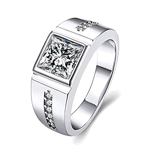 Thumby Geometric Models Of Zircon Rings for Women,Platinum Plated,8