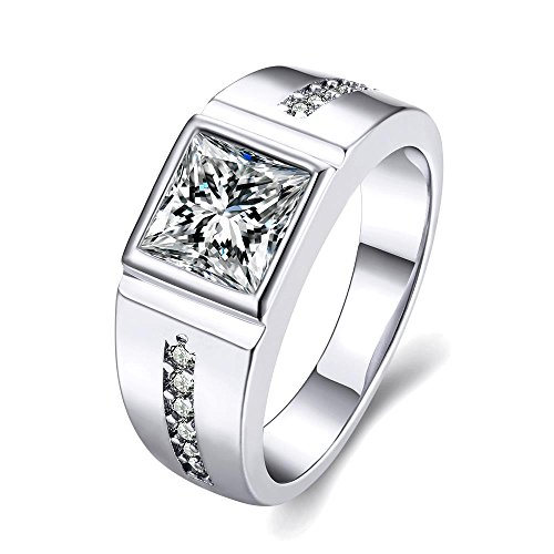 Via Mazzini Platinum Plated Crystal Proposal Ring For Boys And Men (Ring0409)