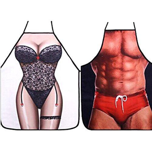 Sexy Schürze SAZI Spaß Schürze Justierbare Taille Krawatten Partyschürze für Kochen & Waschen, BBQ, Kostüm Party, Weihnachtsgeschenke, Betrug, etc (Spitze + (Spitze Kostüm Cue)