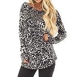 TianWlio Damen Langarmshirt Bluse T-Shirt Tops Frauen Herbst Winter Leopard Druck Beiläufige Art und Weise Pullover Überzieher T-Shirt Langarm Bluse