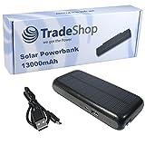 2in1 Premium-Qualitäts Solar Ladegerät mit integriertem hochleistungs Power Bank Akku 13000mAh für Microsoft Nokia Lumia 1330 435 532 532 Dual-SIM 535 535 Dual-SIM 215 Dual SIM