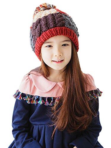 Bigood Bonnet d'Hiver Bébé Enfant Tricot Chapeau avec Pompon Automne Hiver Chauffant