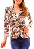 Damen Casual Sweat Jersey Blazer Jacke Sweatblazer Jerseyblazer Sakko Kurz Gefüttert 3/4 Arm Camouflage Muster Beige L 40 (XL)