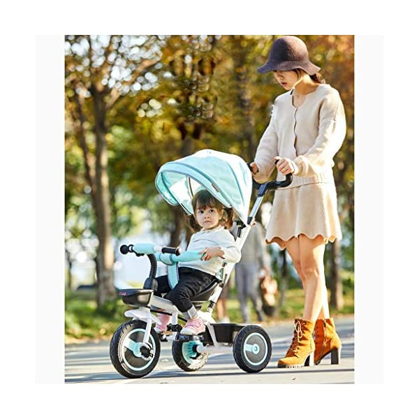 Qi Tai/ Baby trolley Children's Tricycle Bicycle 1-3 Years Old Baby Stroller 2-6 Baby Infant Child 3 Wheeler Large (color : G) Qi Tai The multi-function baby cradle can adjust the seat. Environmentally friendly and antibacterial fabrics are not easily torn or will not be allergic to baby's skin.  Seat: The seat is turned in two directions, easy to rotate, intimate every moment, facing the world to satisfy the baby's curiosity, and intimately interacting with the mother and the baby. 3