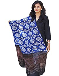 Blue-Black Ajrakh Block Print With Bandhni Modal Silk Stole By Kutch Culture