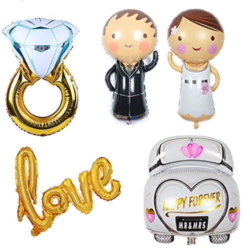 5 Unids globos XL novio novio coche de novios anillo LOVE . ideales para la decoracion de tu boda, en cada mesa de invitador, en la de niños, en carrito de chuches o en los asientos.... mil ideas aniversarios jardines escaparates de CHIPYHOME