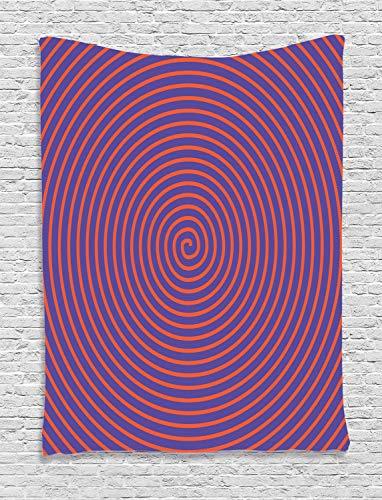 ABAKUHAUS Psychedelisch Wandteppich, Hypnotische Spirale, Wohnzimmer Schlafzimmer Heim Seidiges Satin Wandteppich, 150 x 200 cm, Orange Violett - Hypnotische Violett