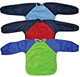 Silly Billyz Long Sleeve Towel Baby Bibs Large Pack of 3 Sky Blue Navy/Red Navy/Lime Royal