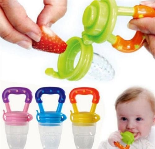 Q4U Baby Dummy Pacifier Fresh Food/Fruit Feeder Feeding Nipple Weaning Teething Nipple Teat Pacifier Teether Soother (Medium, Blue)