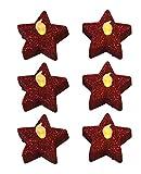 Fachhandel Plus 6er Set Teelichter Stern, Glitzer rot, Weihnachtsdekoration, inkl. Batterien, Deko Teelicht, Flackereffekt