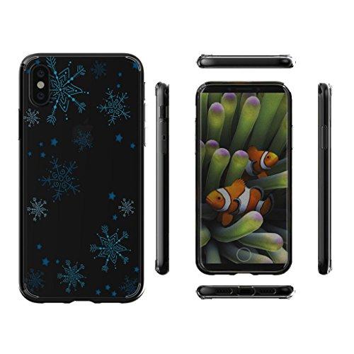 Custodia per AppleiPhoneX(5,8pouces) ,JIENI Cover Arte piuma Trasparente TPU Flessibile Sottile Protezione Bumper Case per AppleiPhoneX(5,8pouces) WM101