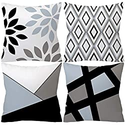 Dtuta Coussins Taie d'oreiller Pillowcase Polyester Confortable Couleur Noir Et Blanc Doux Correspondant Taie d'oreiller CarréE 45X45Cm, Coussin De Voiture à Domicile 4 Ensembles