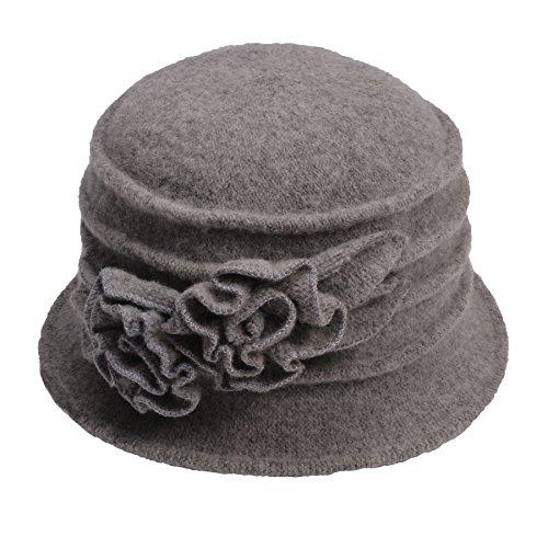 Sombrero cloche para mujer, de la marca Lawliet, de lana y estilo vintage elegante Gris 287_Gray Talla única