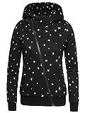 EA Selection Winter Damen Hoodie Sweatshirt Sterne Muster Kapuzenpullover Schwarz Stern M