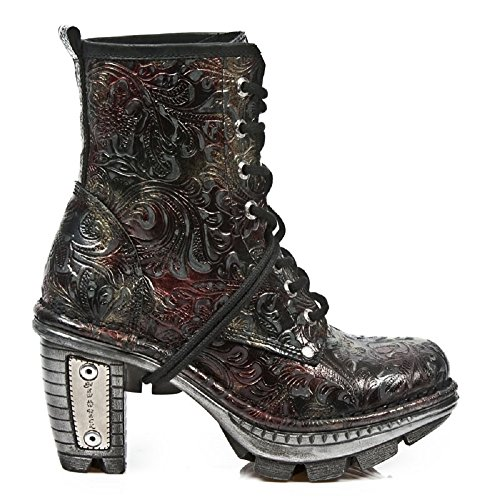 New Rock Newrock NEOTR008-S13 Jahrgang Blume Rot Gothic Rock Punk Damen Stiefel 38 Patent-leder-stiefel