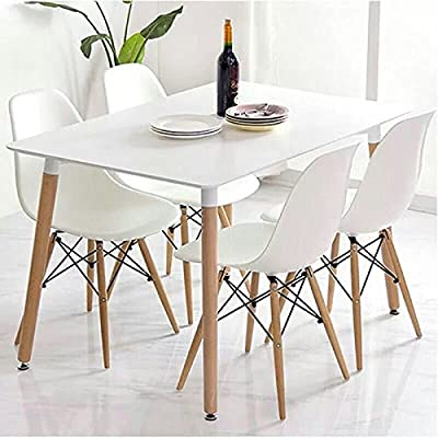 CrazyGadget® Charles & Ray Eames Inspired Eiffel DSW Retro Design Wood Style Chairs and Table Set for Office Lounge Dining Kitchen - White