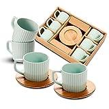 SOPRETYKaffeetassen Kaffeebecher Set 6er, PorzellanTeetassen mit Holz Untertassen,Kreative Streifen, Tee Milch Tasse für Küche, Restaurant, Büro (Grün)