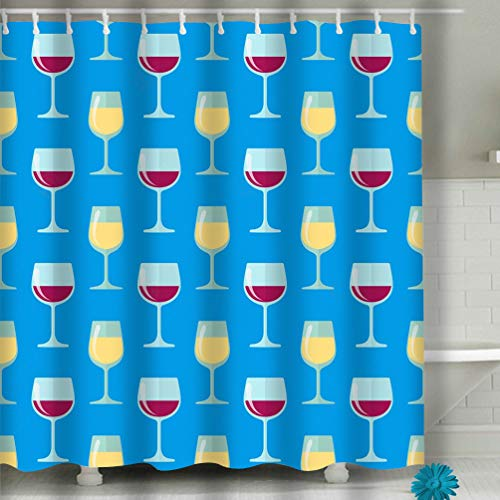 Xunulyn Shower Curtain Spa Decor by, Mildew Resistant Bathroom Decor View 60x72 INCH Flat White red Wine Glasses Seamless Pattern Color -