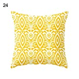 Pineapple Leaf Gelb Kissen Fall Sofa Auto Taille Werfen Kissenbezug Home Decor, Polyester, 24 Yellow Ikat Pattern