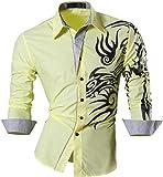 Jeansian Herren Freizeit Hemden Shirt Tops Mode Langarmlig Men's Casual Dress Slim Fit 2028 (USA XL (180-185cm 75kg-80kg), Z001_Yellow)