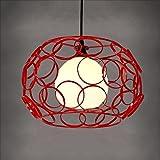 KMYX Hochwertige Eisen Hohl Kronleuchter 1-Licht Deckenleuchte Kreative Kreis Kombination Pendelleuchte Einzigen Schlafzimmer Esszimmer Kaffee Wohnzimmer Hängeleuchten (Color : Red)