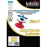 Infiniti - Pack de etiquetas para CD (A4, en blanco, 100 unidades), color blanco
