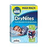 Huggies Drynites 4-7 ans Garçon (17-30 kg) - Sous-vêtements de Nuit Absorbants pour Enfants qui font Pipi au Lit - x32 Culottes (Lot de 2 Paquets de 16)