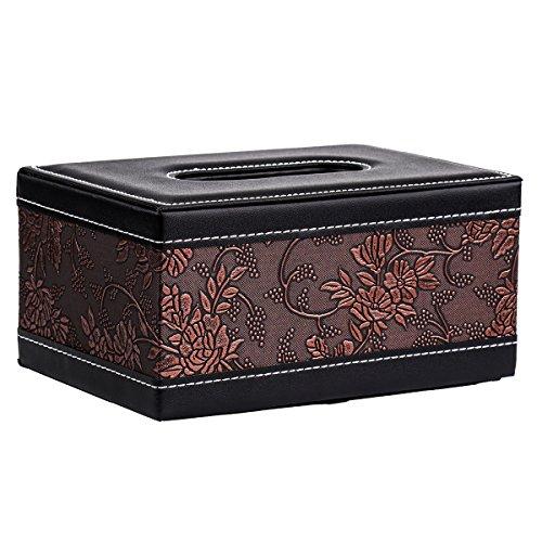 Taschentuchspender Tissue Box Cover–Vintage WC, Blume Rechteckig PU-Leder Tissue Spender, 18,8x 11,8x 9,3cm