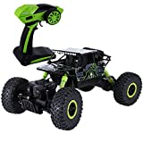 SKM Ferngesteuertes Auto, Spielzeugauto 2,4 GHz 1:18 Skala RC Rock Crawler 4WD Offroad Race Truck Buggy Truggy Spielzeug für Kinder (Grün, EU Stecker)