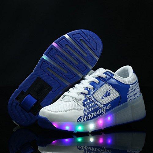 SGoodshoes Schuhe Mit Rollen Led Leuchtende Sportschuhe Lichter Rädern Turnschuhe 7 Farbe Farbwechsel Sneaker Kinder Junge Mädchen Blau
