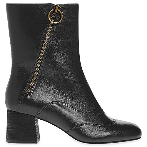 Marks & Spencer AUTOGRAPH T021883 Genuine Leather Zip Detail Mid Heel Ankle...