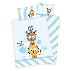 Wolimbo Parure de lit pour enfant 100x 135cm Avec votre nom de souhait–La parure de lit bébé individuelle avec motif süssem