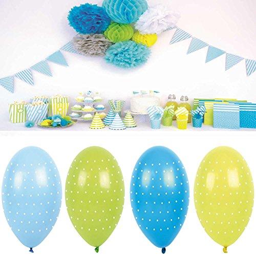 ballon Blau Grün Gelb Luftballons Geburtstag Party B2005 (Blaue Und Gelbe Luftballons)