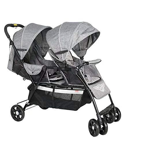 Kaysa-TS Doppelkinderwagen, leicht faltend einfach zu tragen stoßfest Twin Kinderwagen, Baby Travel System, von der Geburt bis 3 Jahre altes Baby