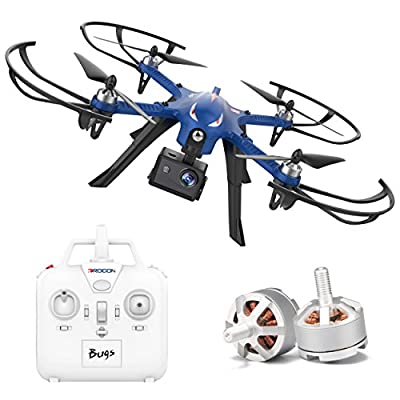 DROCON Blue Bugs 3 Drone with Advanced Brushless Motors Support 1080P HD Action Cameras - 300 Meters Control Distance - 18 Minutes Flying Time