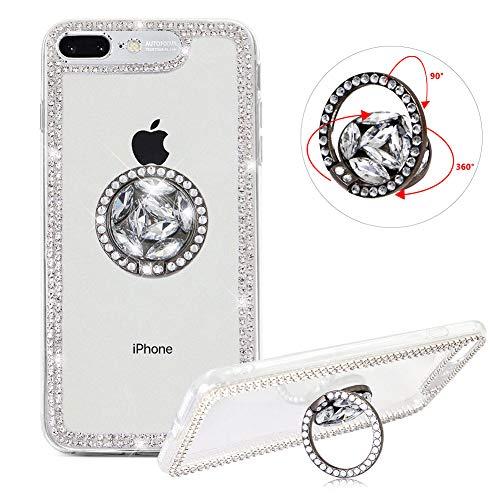 Hart Hülle für iPhone 8 Plus,Diamant Handyhülle für iPhone 7 Plus,Moiky Luxuriös 3D Silber Kristall Glitzer PC Klar Hülle mit 360 Grad Ständer Ring Halterung (Halterungen Motor Gummi)