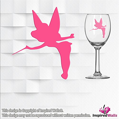 Tinker Bell Vinyl Sticker Decal Glitter Wine Glass Wall Mirrors Tasse Laptop CUP by Inspired Walls®, ()
