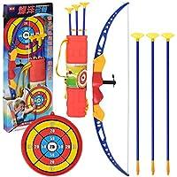 Alan Arco y Flecha para Niños, Arco con Flechas de Juguete, Tiro con Arco de Juguete con Luz, 1 Arco, 3 Flechas, 1 Objetivo y 1 Carcaj