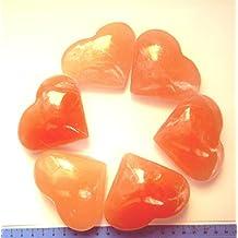 Selenita de cristal con forma de corazón Naranja–Conocimiento de pasado y futuro vida