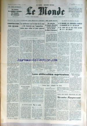 MONDE (LE) [No 9214] du 30/08/1974 - LES TRAVAUX DU COMPLEXE NUCLEAIRE DU TRICASTIN ONT COMMENCE - LA CONFERENCE SUR LE DROIT DE LA MER - LES BANQUES ALLEMANDES - LE MARCHE DU TRAVAIL ET LES PRIX.