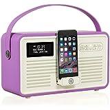 VQ Retro Mk II DAB/DAB+ Digital- und FM-Radio mit Bluetooth, Apple Lightning Dock und 'Retro Mini Hepburn Mk - Strahlende Orchidee