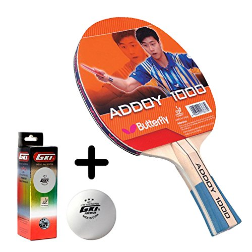 Butterfly Addoy 1000 Table Tennis Combo (Butterfly Addoy 1000 Table Tennis Bat + GKI Premium 3 Star 40 Table Tennis Ball, Box of 3 - White)  available at amazon for Rs.1449