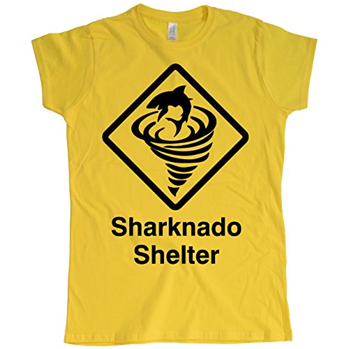 Damen Sharknado Shelter Gelb T-Shirt, Größe L