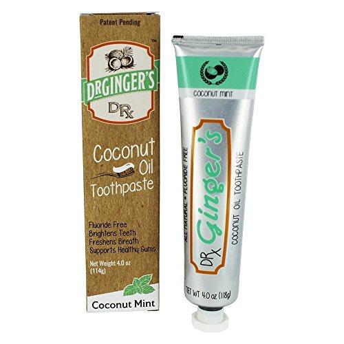Dr. Gingers - Menta de coco con pasta de dientes de aceite de coco sin fluoruro - 4 oz.