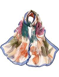 3829ba3947cf Lingyan Georgette sciarpa donna primavera e estivo stampa fiori Lusso  Georgette fantasia elegante scialle sciarpa Liscia