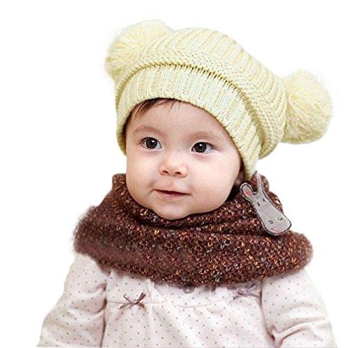 LuckyGirls Strickmütze Baby Mädchen Jungen Doppelball Winter Beanie mütze (Beige)