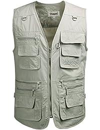 Kaily Herren Outdoor Camping Angeln Baumwolle Jacken Große Größen Westen Mantel(Beige,EU M(Asien XL))